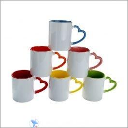 heart handle inter color sublimation mug
